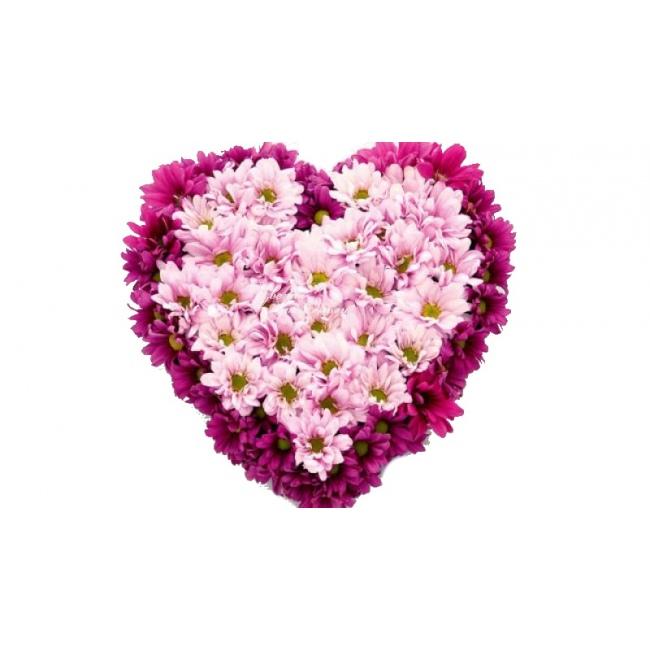 Букет для любимой в виде сердца из хризантемы